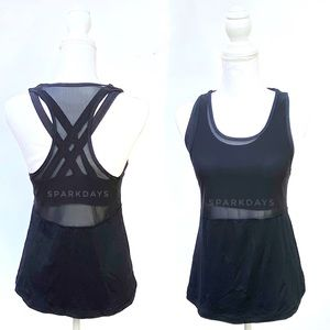 Lululemon Black Mesh Tank Bra Criss Cross | 6